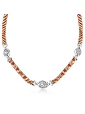 18ct Rose Gold Microplated Cubic Zirconia Necklace