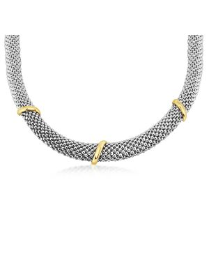 Italian Classic 9ct Yellow Gold & Silver Necklace