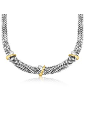 9ct Yellow Gold & Sterling Silver Mesh Design Necklace