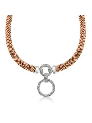 18ct Rose Gold Microplated CZ Drop Necklace