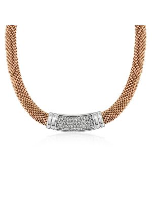 18ct Rose Gold Microplated & Sterling Silver Mesh Style Necklace