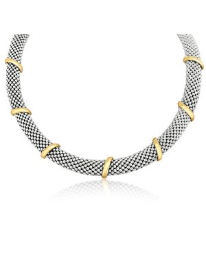 9ct Yellow Gold & Sterling Silver Wide Necklace