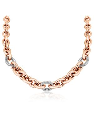 18ct Rose Gold Microplated & Sterling Silver CZ Necklace
