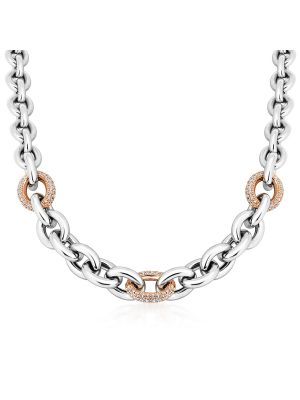 Sterling Silver & 18ct Rose Gold Microplated CZ Necklace