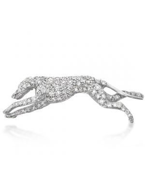 18ct White Gold Diamond Greyhound Brooch
