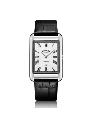 Gents Rotary Stainless Steel Cambridge Shaped Watch