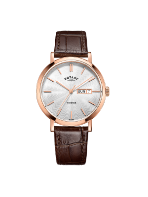 Rotary mens rose gold Windsor watch with Brown strap