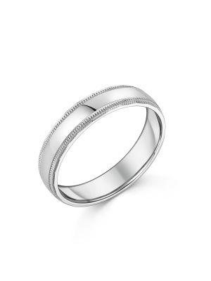 9ct White Gold Beaded Edge Gent's Wedding Ring