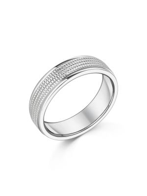9ct White Gold Beaded Row Gent's Wedding Ring