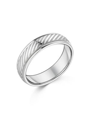 9ct White Gold Beaded Design Gent's Wedding Band