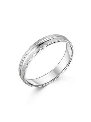 18ct White Gold Beaded Brushed Wedding Ring