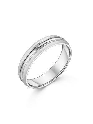 9ct White Gold Beaded Design Gent's Wedding Ring