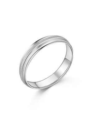 18ct White Gold Beaded Gent's Wedding Band