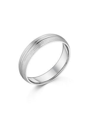 9ct White Gold Brushed & Polished Gent's Wedding Ring