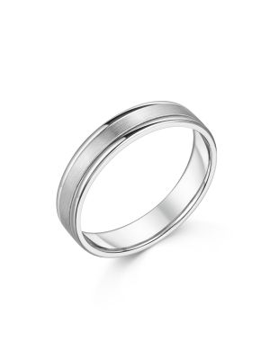 18ct White Gold Contemporary Gent's Wedding Band