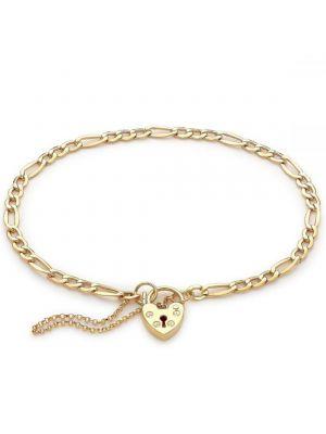 9ct Yellow Gold Padlock Figaro Bracelet