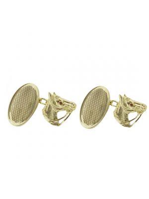9ct Yellow Gold Horse & Disc Cufflinks