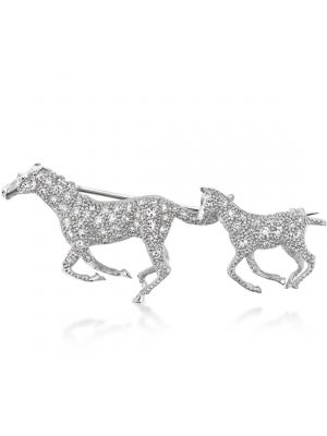 18ct White Gold Mare & Foal Diamond Brooch