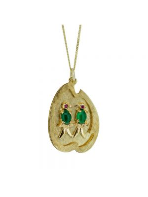 9ct yellow gold jade and ruby love bird pendant