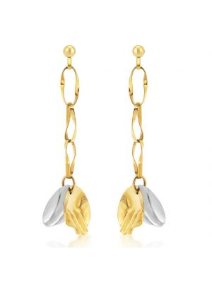 14ct White & Yellow Gold Sculptural Drop Earrings