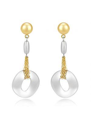 14ct White & Yellow Gold Drop Earrings
