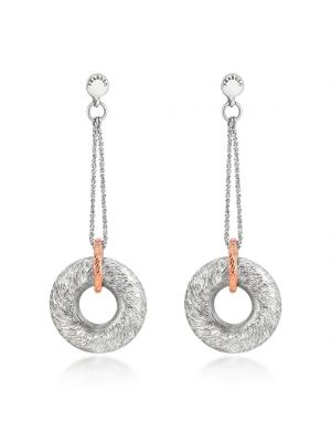 Sterling Silver & Microplated Rose Gold Drop Earrings