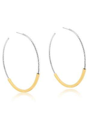 Sterling Silver & Microplated Yellow Gold Hoop Earrings