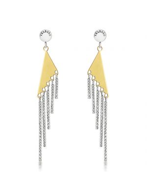Sterling Silver & 18ct Yellow Gold Microplated Long Drop Earrings