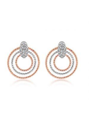 Sterling Silver & Rose Gold Circular Earrings