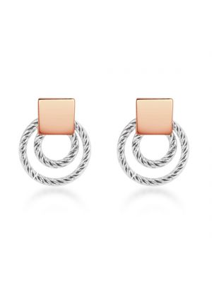 Sterling Silver & 18ct Rose Gold Microplated Circle Earrings