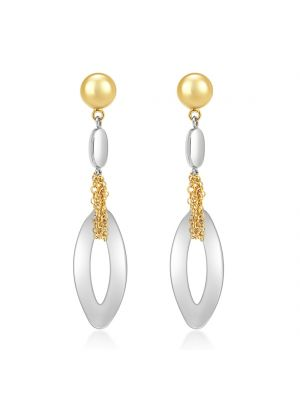 14ct Yellow & White Gold Drop Earrings