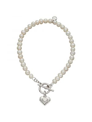 Sterling Silver Pearl T-Bar Bracelet with Diamond Heart Charm
