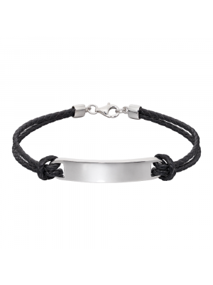 Sterling Silver & Leather ID Tag Bracelet