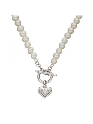 Sterling Silver Pear Diamond Heart Charm T-Bar Necklace