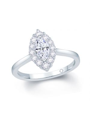 18ct white gold marquise cut diamond ring with diamond surround