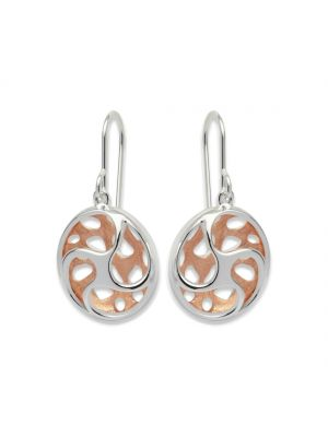 Sterling silver and rosegold plated circular swirl drop earrings