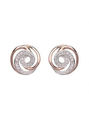 Sterling silver roseplate cz swirl cz earrings