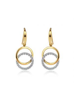 9ct White & Yellow Gold CZ Interlocking Circle Drop Earrings