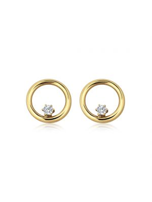 9ct Yellow Gold Circle Stud Earring with CZ Set