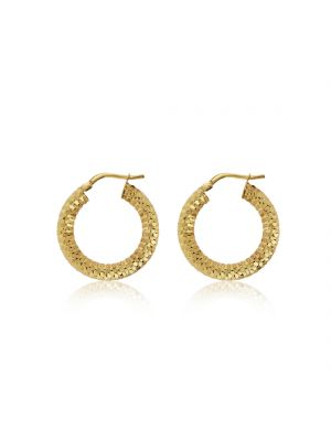 9ct Yellow Gold Faceted Hoop Earrings