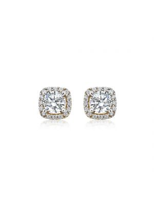 9ct Gold Cushion Shaped CZ Set Halo Studs with intricate detailing.