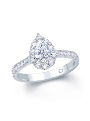18ct white gold pear shape diamond with diamond halo and diamond set shoulder