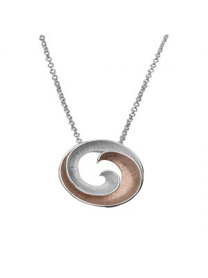 Sterling silver and roseplate swirl pendant and chain