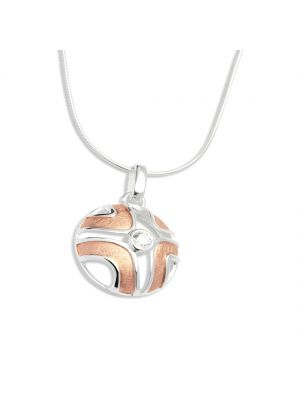 Sterling silver and brushed rosegold plate circular pendant and chain