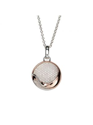 Sterling silver and rose plate open circle pendant
