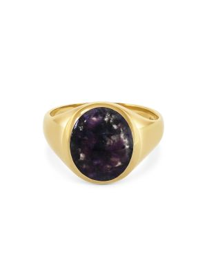 9ct Yellow Gold Cabochon Amethyst Gent's Ring