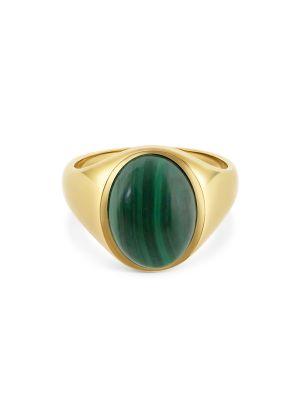 9ct Yellow Gold Gent's Malachite Signet Ring