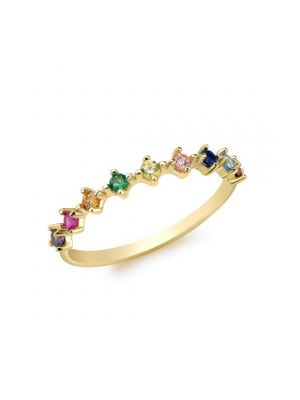 9ct Yellow Gold Multicoloured CZ Ring