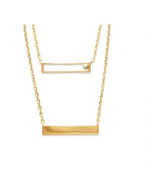 18ct yellow gold microplated on bronze two row rectangle style pendant