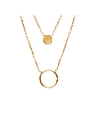 18ct yellow gold microplated circle and disc pendant